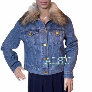 Michael Kors Faux Fur Denim Jacket Collar LightInd